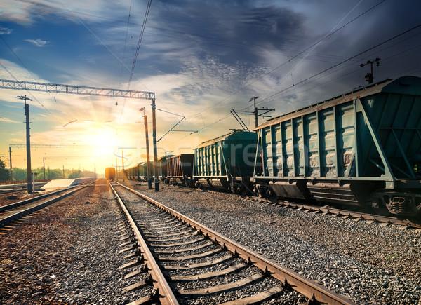 Vonat állomás este tájkép fák utazás Stock fotó © Givaga