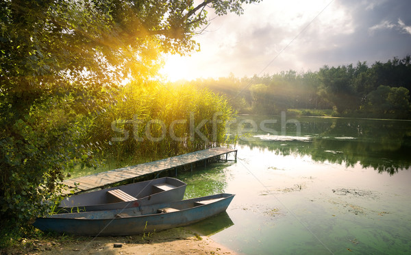 Boats on river Stock photo © Givaga