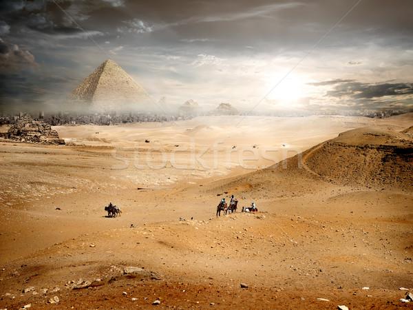 тумана пирамида пустыне небе солнце Сток-фото © Givaga