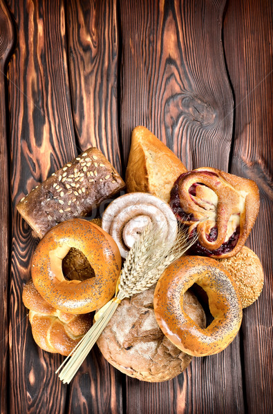 Bakery products on wooden boards Stock photo © Givaga