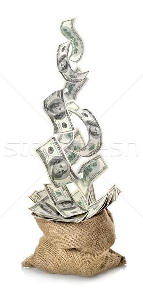 Stok fotoğraf: Düşen · dolar · çanta · yalıtılmış · beyaz · arka · plan