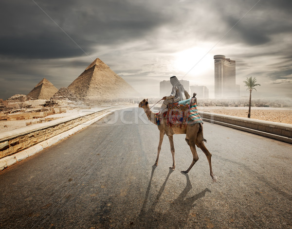 Evening over pyramids Stock photo © Givaga