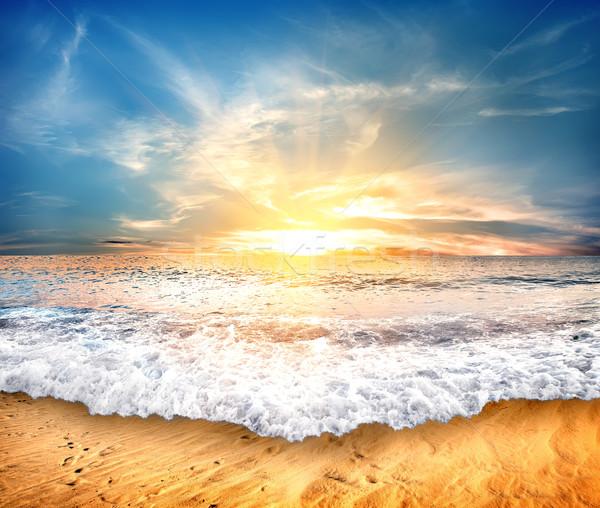 Tengerpart trópusi citromsárga homok kék ég égbolt Stock fotó © Givaga