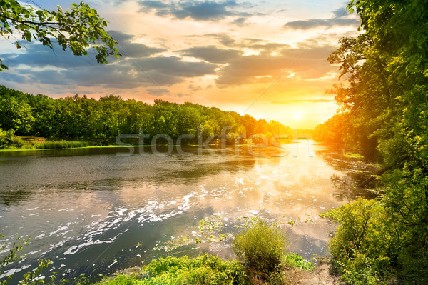 Sunset over the river in the forest Stock photo © Givaga