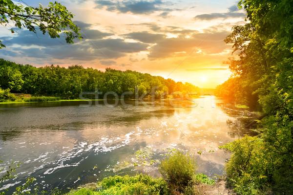 Naplemente folyó erdő tavasz fák nyár Stock fotó © Givaga