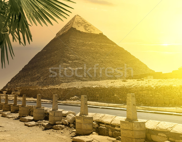 Pyramid of Khafre near road Stock photo © Givaga