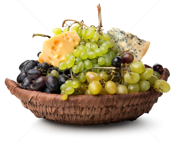 Cheese and grape in basket Stock photo © Givaga