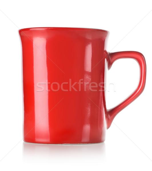 Stok fotoğraf: Kırmızı · fincan · yalıtılmış · beyaz · çay · bulaşık