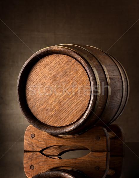 古い ブラウン バレル 木製 ワイン 黒 ストックフォト © Givaga