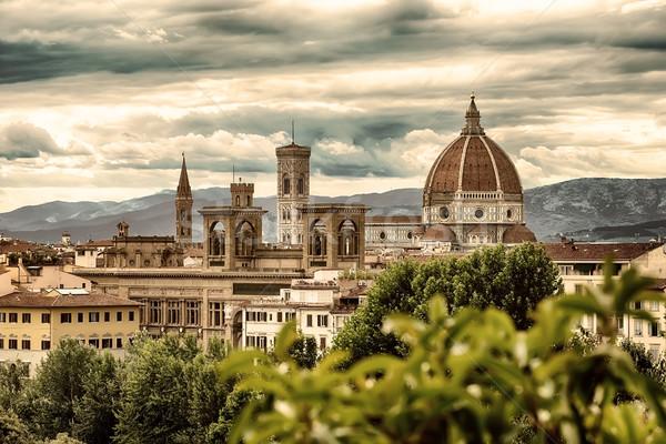 Florence hegyek kilátás híres katedrális mikulás Stock fotó © Givaga