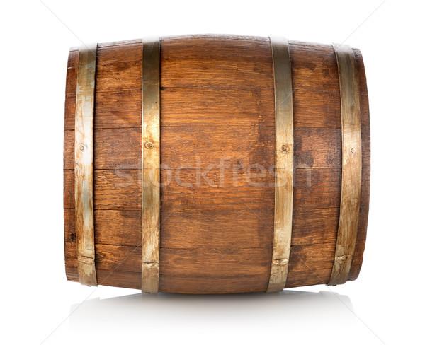 Baril bois isolé blanche vin boire Photo stock © Givaga