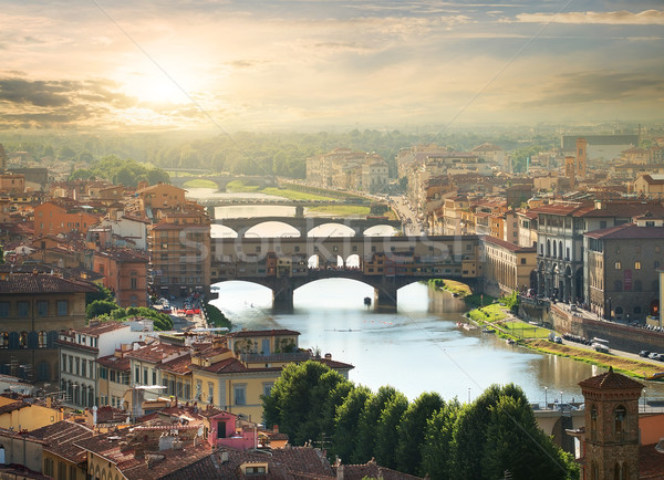 Ponts FLORENCE vue sunrise ciel maison Photo stock © Givaga