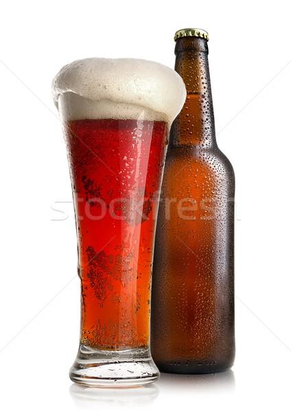 Piros sörösüveg sör üveg üveg izolált Stock fotó © Givaga