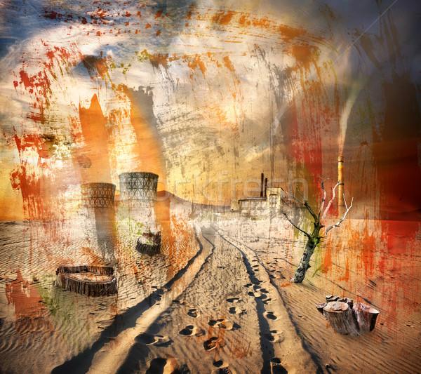 Environnement pollution texture industrielle tuyaux sécher Photo stock © Givaga