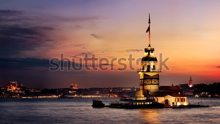 Torre istambul noite nuvens cidade Foto stock © Givaga