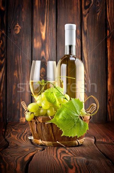 White wine with grapes Stock photo © Givaga