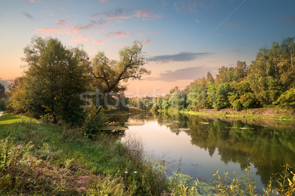 Pink sunset over river Stock photo © Givaga