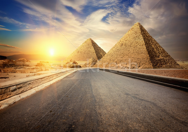 Asphalted road to Giza Stock photo © Givaga
