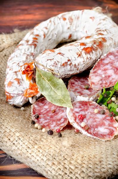 Salami worst specerijen weefsel tabel doek Stockfoto © Givaga