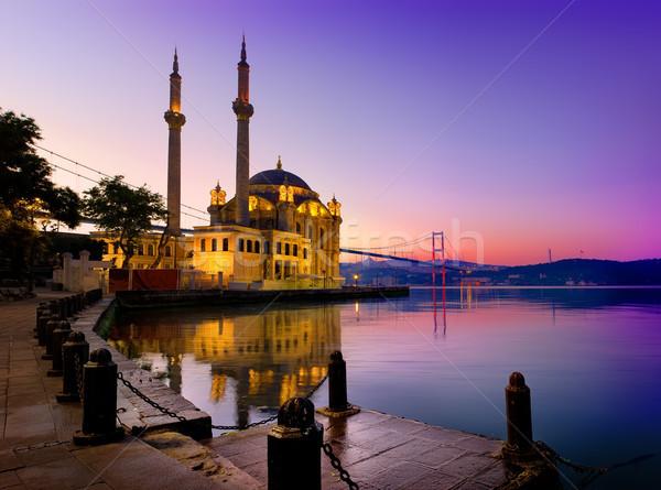 モスク イスタンブール 橋 日の出 水 建物 ストックフォト © Givaga