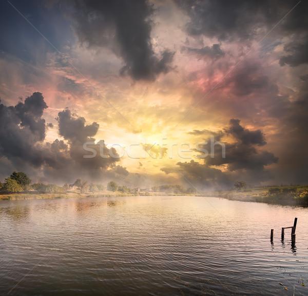 夜明け 湖 夏 ツリー 春 自然 ストックフォト © Givaga