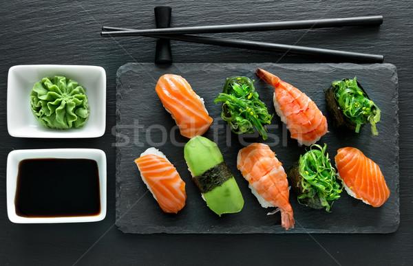 Foto d'archivio: Piatto · sushi · set · wasabi · alimentare · ristorante