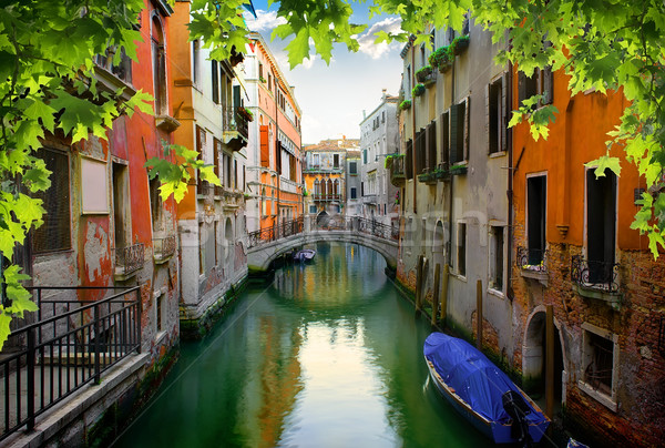 Higgadt velencei utca nyár Olaszország ház Stock fotó © Givaga