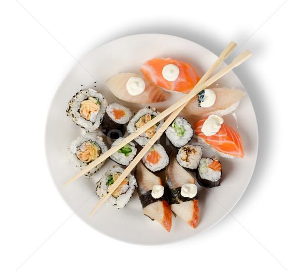 Sushi plaka yalıtılmış beyaz Stok fotoğraf © Givaga