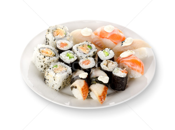Sushi and rolls in a plate Stock photo © Givaga
