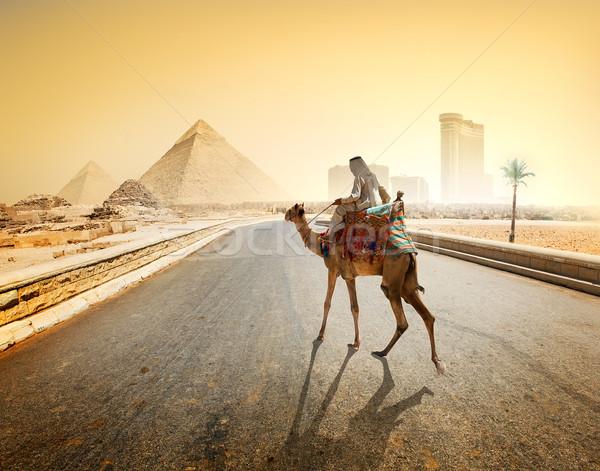 út Giza teve Gizai piramisok égbolt fa Stock fotó © Givaga