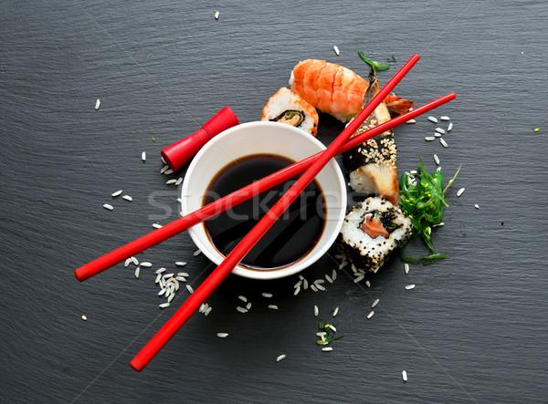 Sushi soja tle tabeli obiedzie czerwony Zdjęcia stock © Givaga