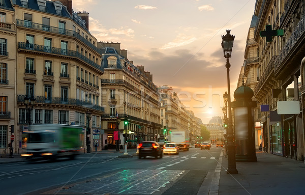 Wide street in Paris Stock photo © Givaga