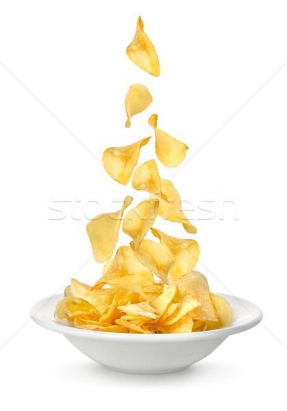Batatas fritas queda prato isolado branco cair Foto stock © Givaga