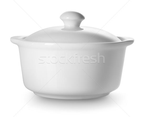 小 セラミック 孤立した 白 調理 コンテナ ストックフォト © Givaga