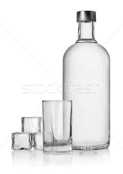 Bottle of vodka and ice cube Stock photo © Givaga