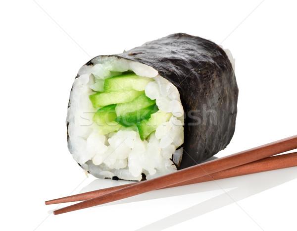 суши палочки для еды огурца изолированный белый ресторан Сток-фото © Givaga