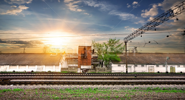 Rails and station Stock photo © Givaga
