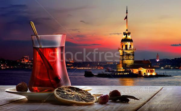 Turkish tea Maiden Tower Stock photo © Givaga