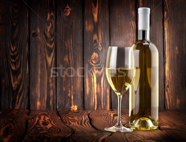 Stok fotoğraf: Beyaz · şarap · tablo · ahşap · şarap · cam · içmek