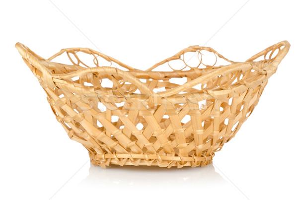 Wooden wattled basket isolated Stock photo © Givaga