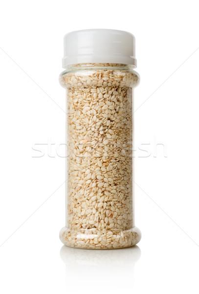 White sesame in a jar Stock photo © Givaga