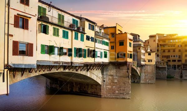 Pont FLORENCE rivière Italie bâtiment coucher du soleil Photo stock © Givaga