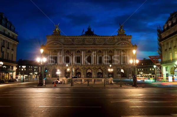 ópera Paris de manhã cedo França nuvens edifício Foto stock © Givaga