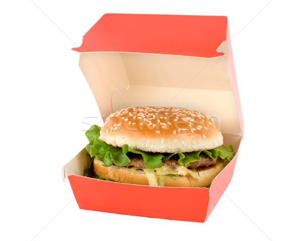Stockfoto: Hamburger · Rood · vak · geïsoleerd · witte