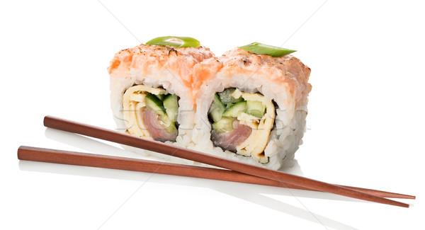 два суши палочки для еды изолированный белый Сток-фото © Givaga