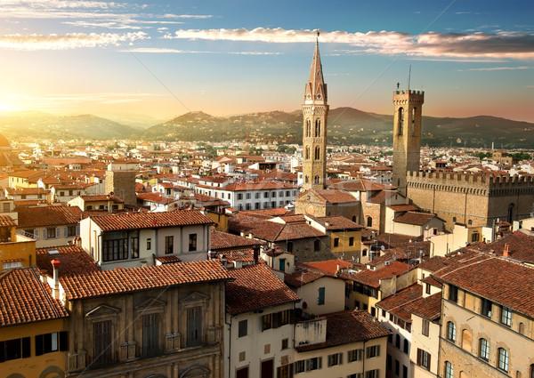 フィレンツェ 表示 イタリア 家 雲 ストックフォト © Givaga