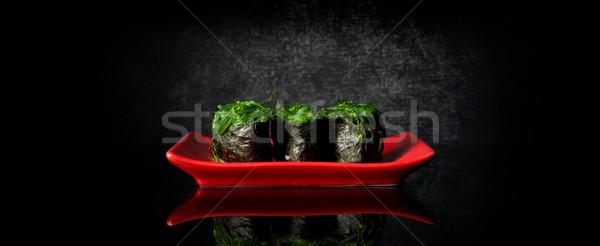 Kırmızı yemek siyah arka plan tablo Stok fotoğraf © Givaga
