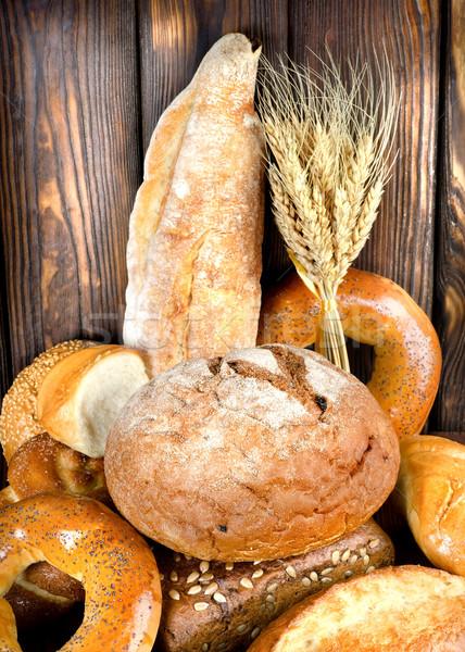 Pão mesa de madeira padaria produtos marrom Foto stock © Givaga