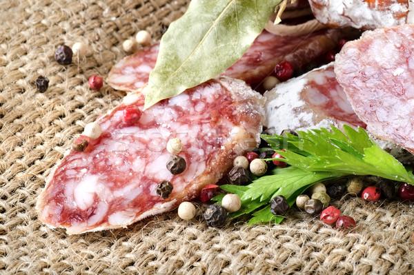 Salame salsa salsicha temperos comida Foto stock © Givaga