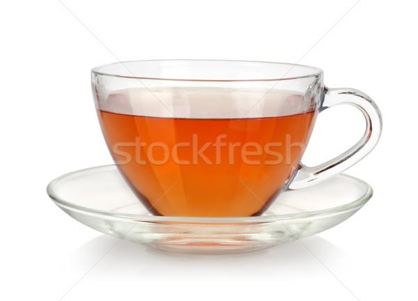 Cam fincan çay fincan tabağı yalıtılmış beyaz Stok fotoğraf © Givaga
